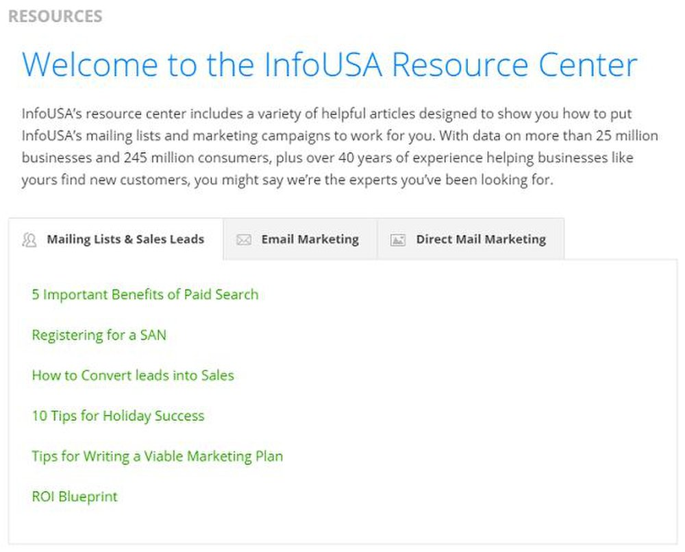 InfoUSA image: There is a direct marketing guide with helpful tips to optimize your campaign.