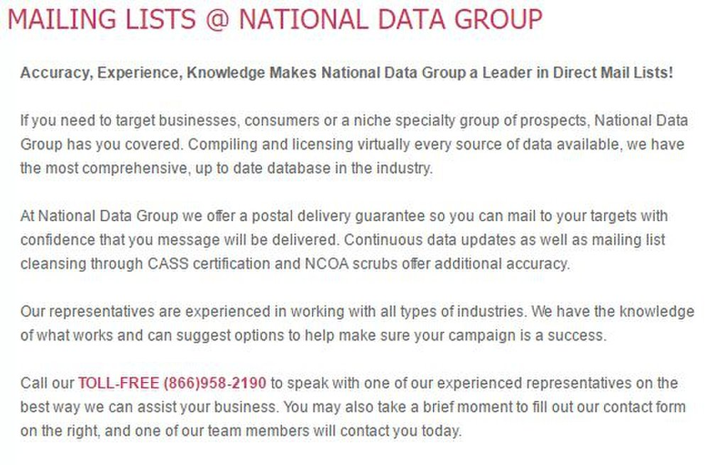 National Data Group image: This list broker service has a deliverability guarantee for both its postal and email lists, and it refunds bad leads that result in over 20% bounces.