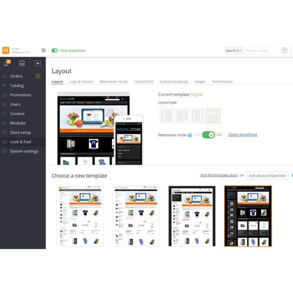 X-Cart image: You can choose and customize pre-made templates to give your site a unique look and feel.