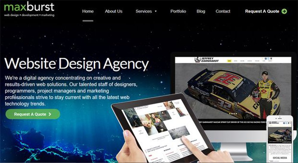 Maxburst image: This web design company creates websites so they appear properly on regular browsers, tablets and mobile phones.