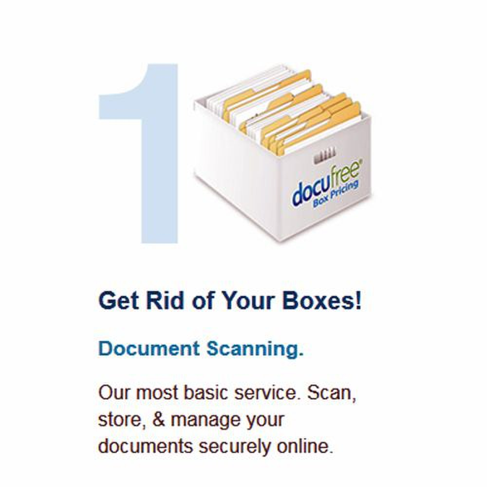 Docufree image: Scanned images are stored online.