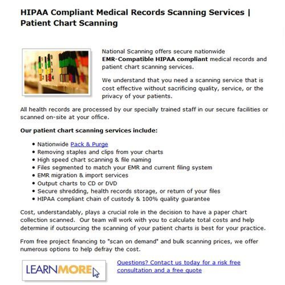 National Scanning image: Company-wide HIPAA-compliance practices ensure extra security for all industries.