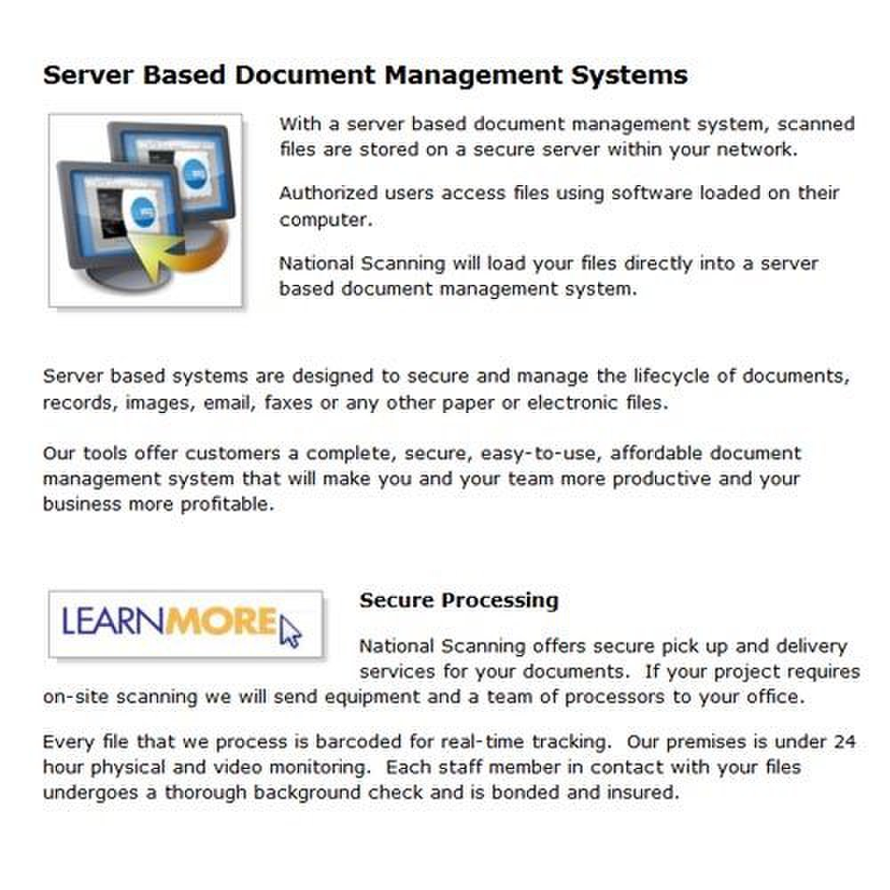 National Scanning image: National Scanning can install your documents into a server-based system at your office location.