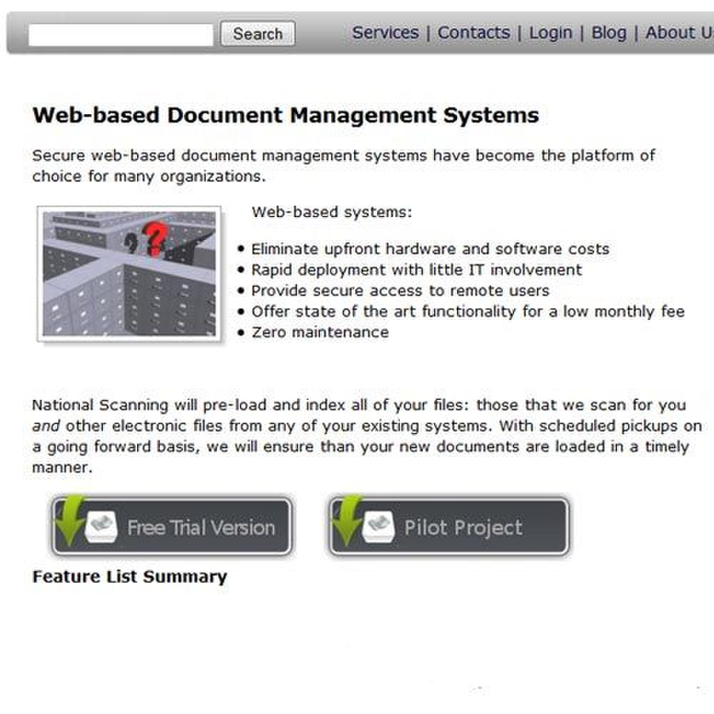 National Scanning image: The best of National Scanning's storage offerings is a cloud- or web-based document management system.