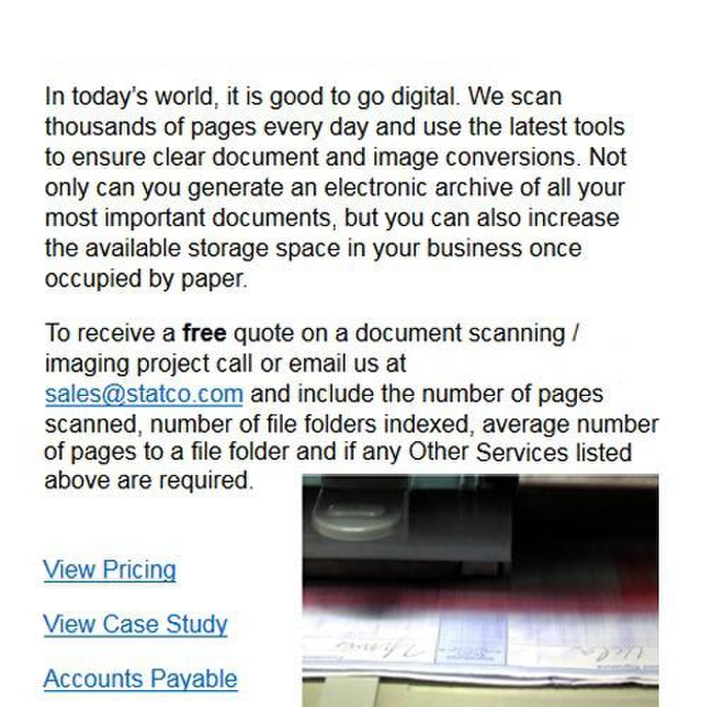 Statco image: Clear document scans and conversions are standard at Statco.