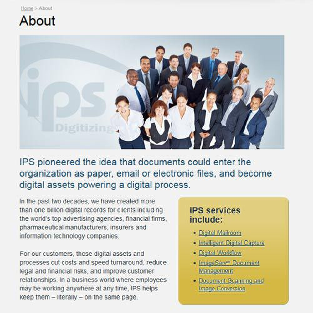 IPS image: IPS offers an electronic document management system called ImageServ.