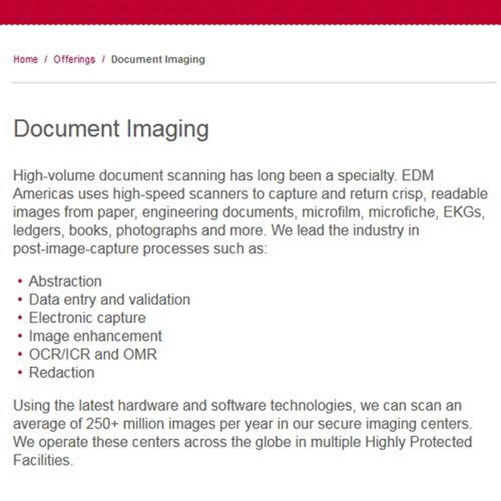 EDM Americas image: EDM Americas scans paper, microfilm, ledgers, books, photographs and other document types.