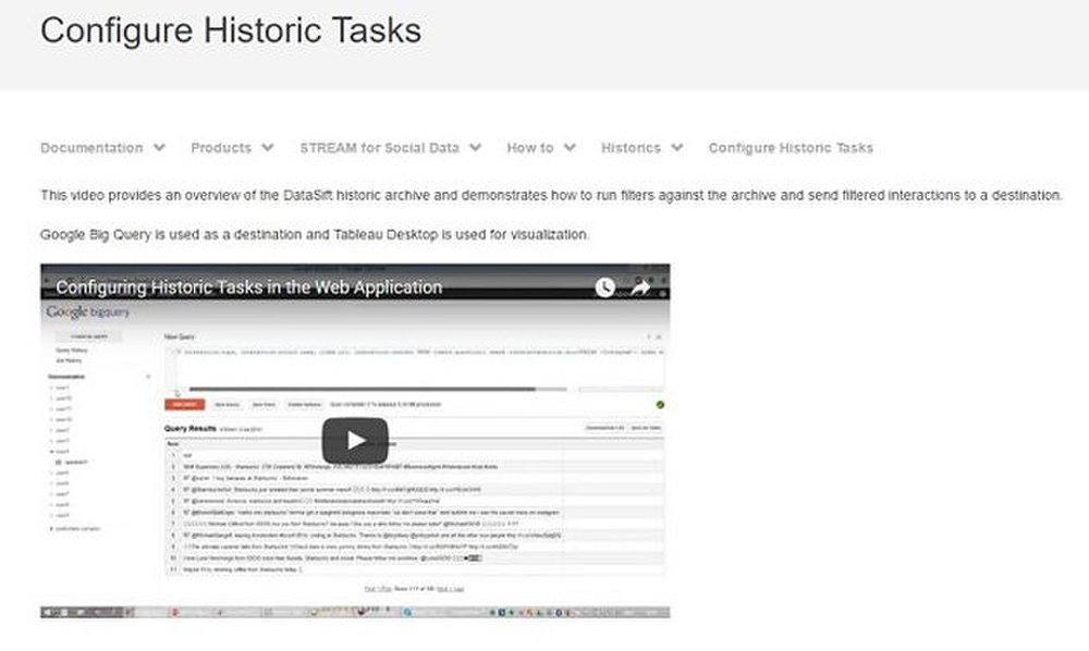 DataSift image: The help section has how-to documents, articles and videos.