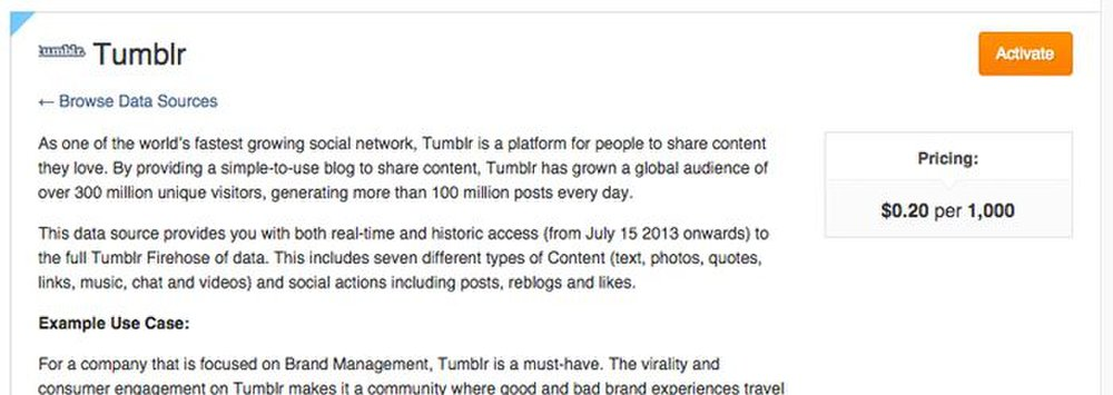 DataSift image: This social media monitoring software charges by interaction throughput. In the example above, you are charged 20 cents for every 1,000 interactions you accept from the Tumblr search.