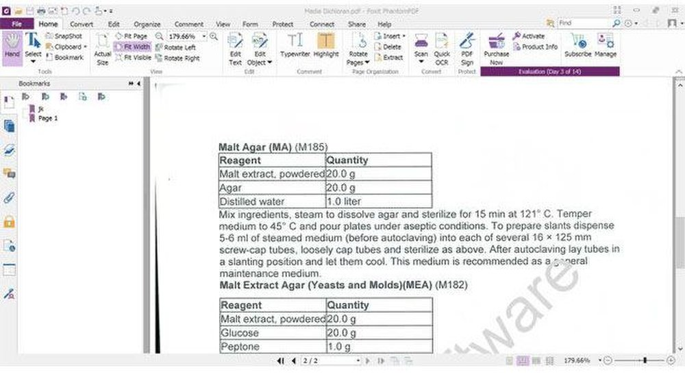 Foxit PhantomPDF image: The top panel houses most of the important editing, conversion and security tools.