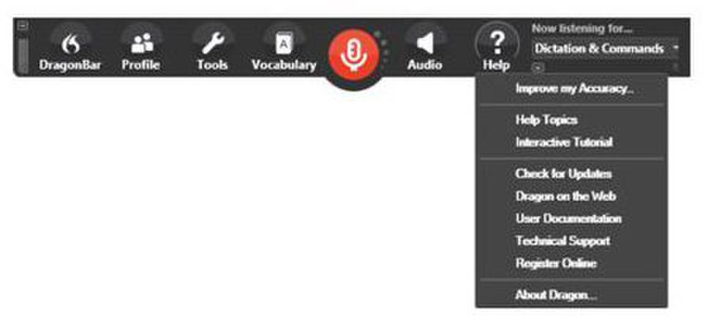 Dragon Professional image: The help pull-down menu will let you search for help topics or search for online resources.