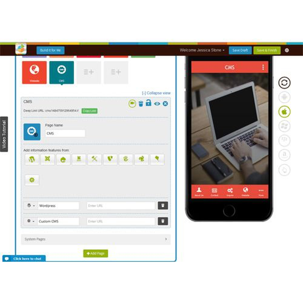 The Appy Pie software integrates with a variety of content management systems to make it easy to create an app.