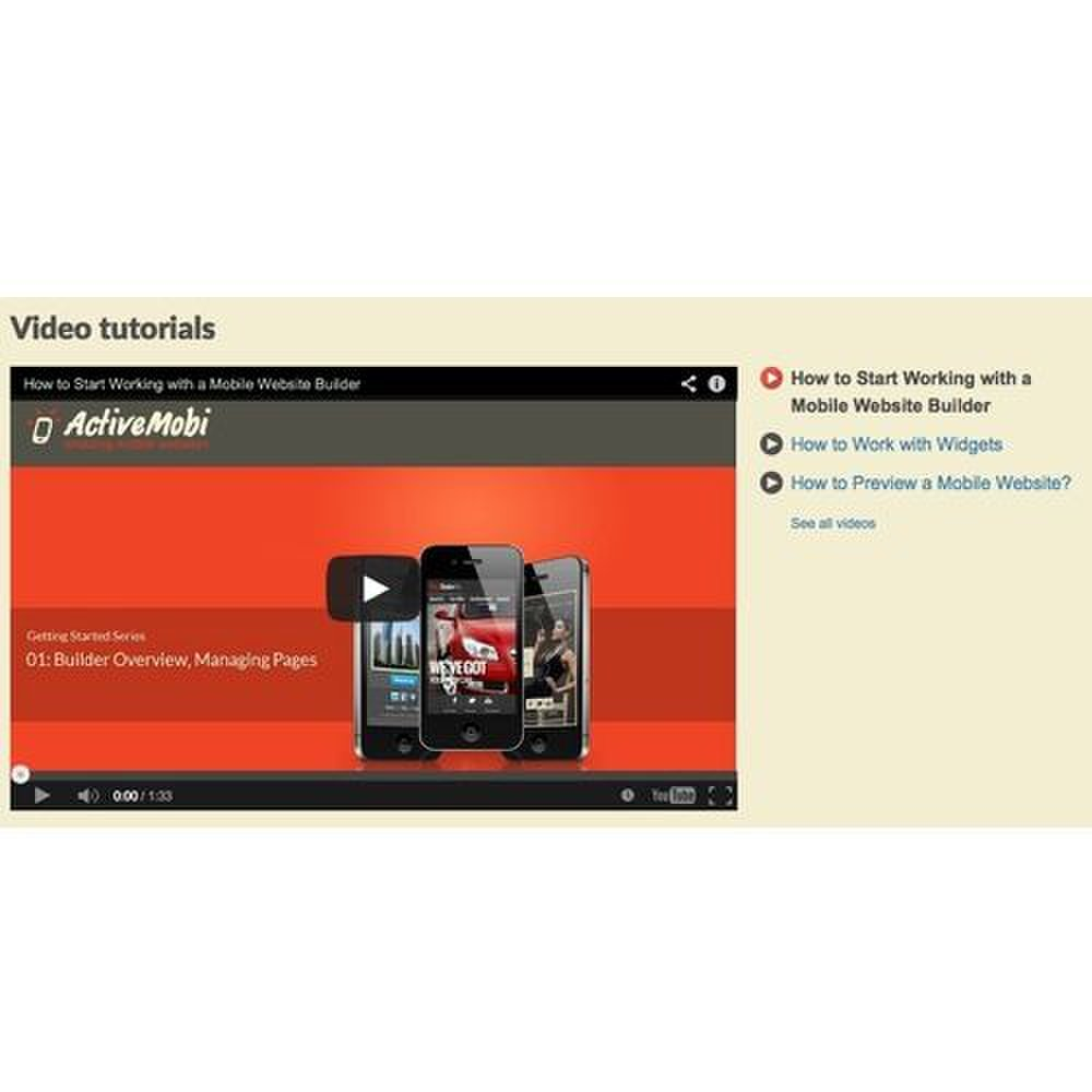 ActiveMobi image: The video tutorials will give you a good start in creating a mobile site.