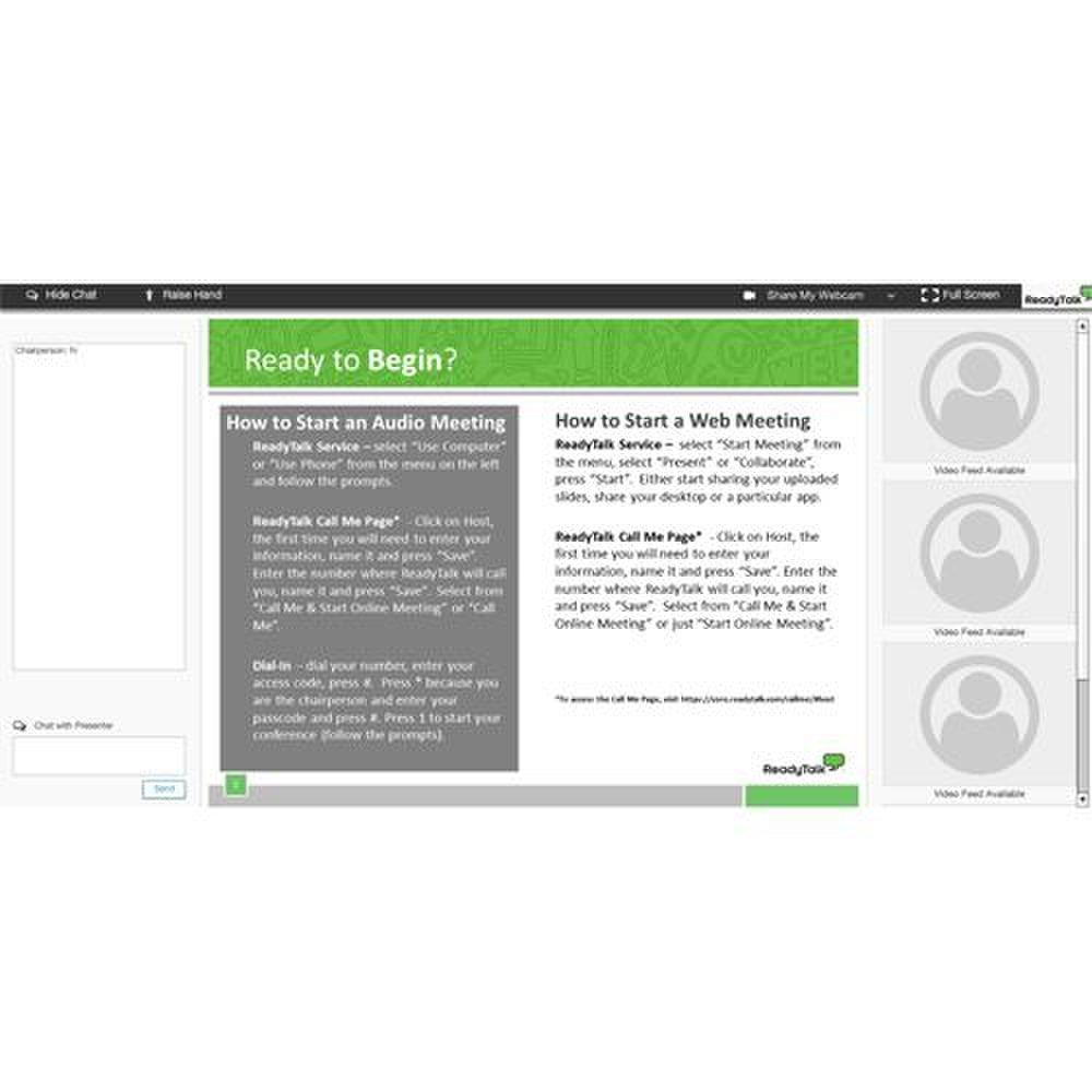 ReadyTalk image: The platform's interface displays the webcam feed of your presenter and attendees.