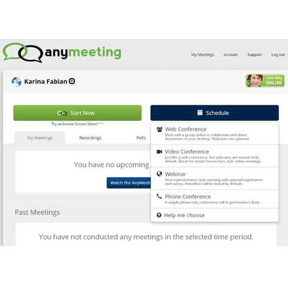AnyMeeting image: This service offers you a variety of ways to host your meeting aside from standard webinar formats.