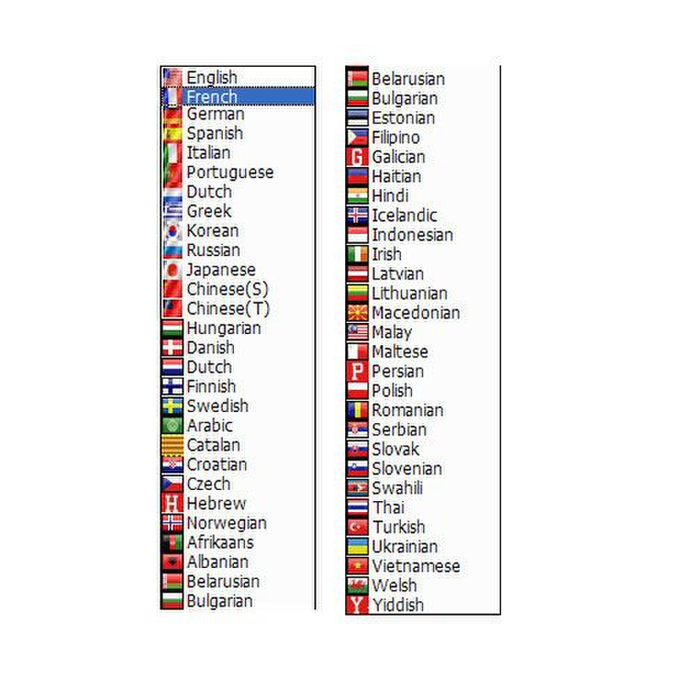 Cute Translator image: You can select from many languages for your translations.