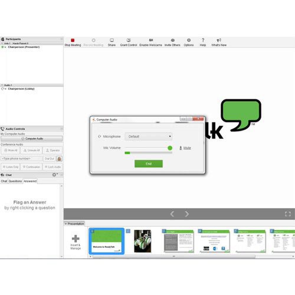 ReadyTalk image: The clean interface displays the standard tools like audio controls, chat, Q&A and other collaborative tools.