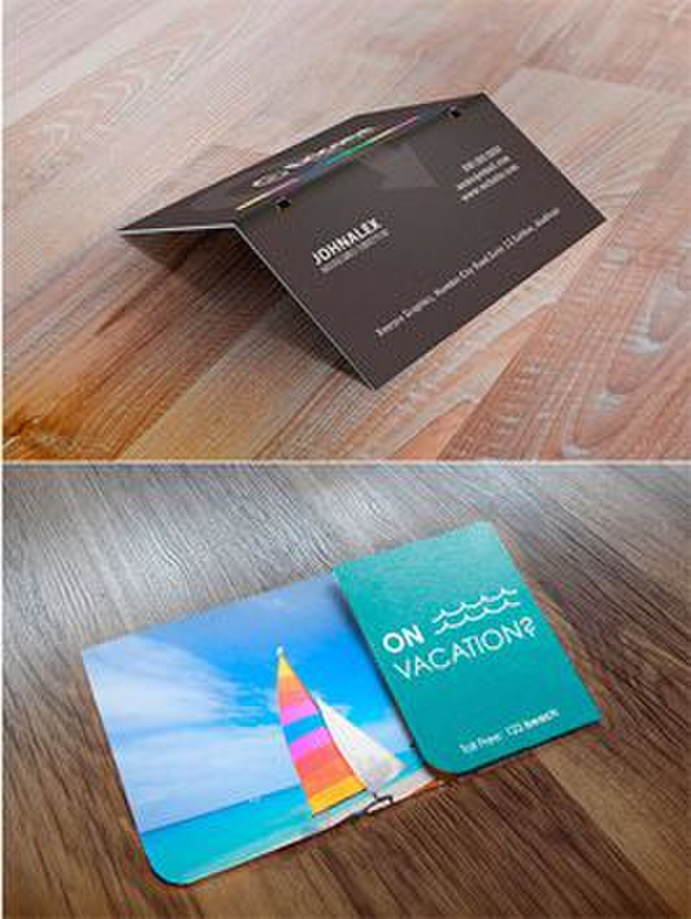 4Over4 image: To help your business cards stand out, you can purchase folded cards.
