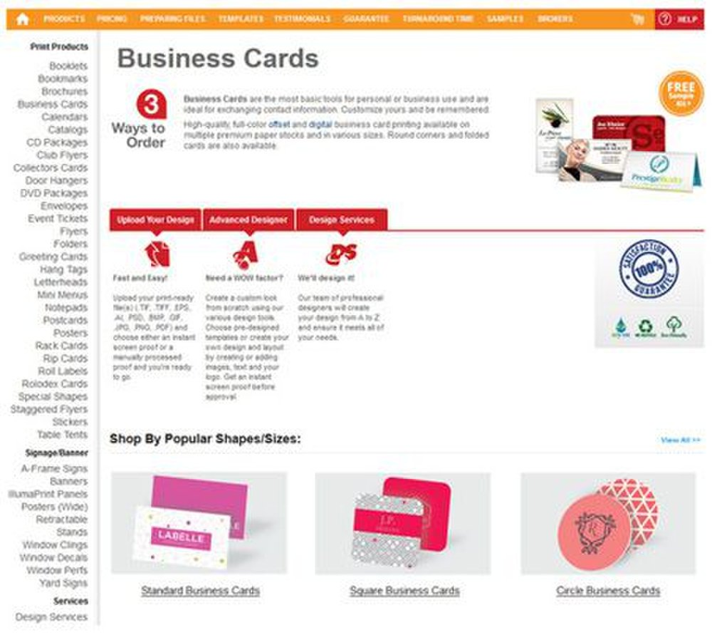 GotPrint image: You can either upload your own design, create one using the online design tool or hire a designer to make business cards for you.