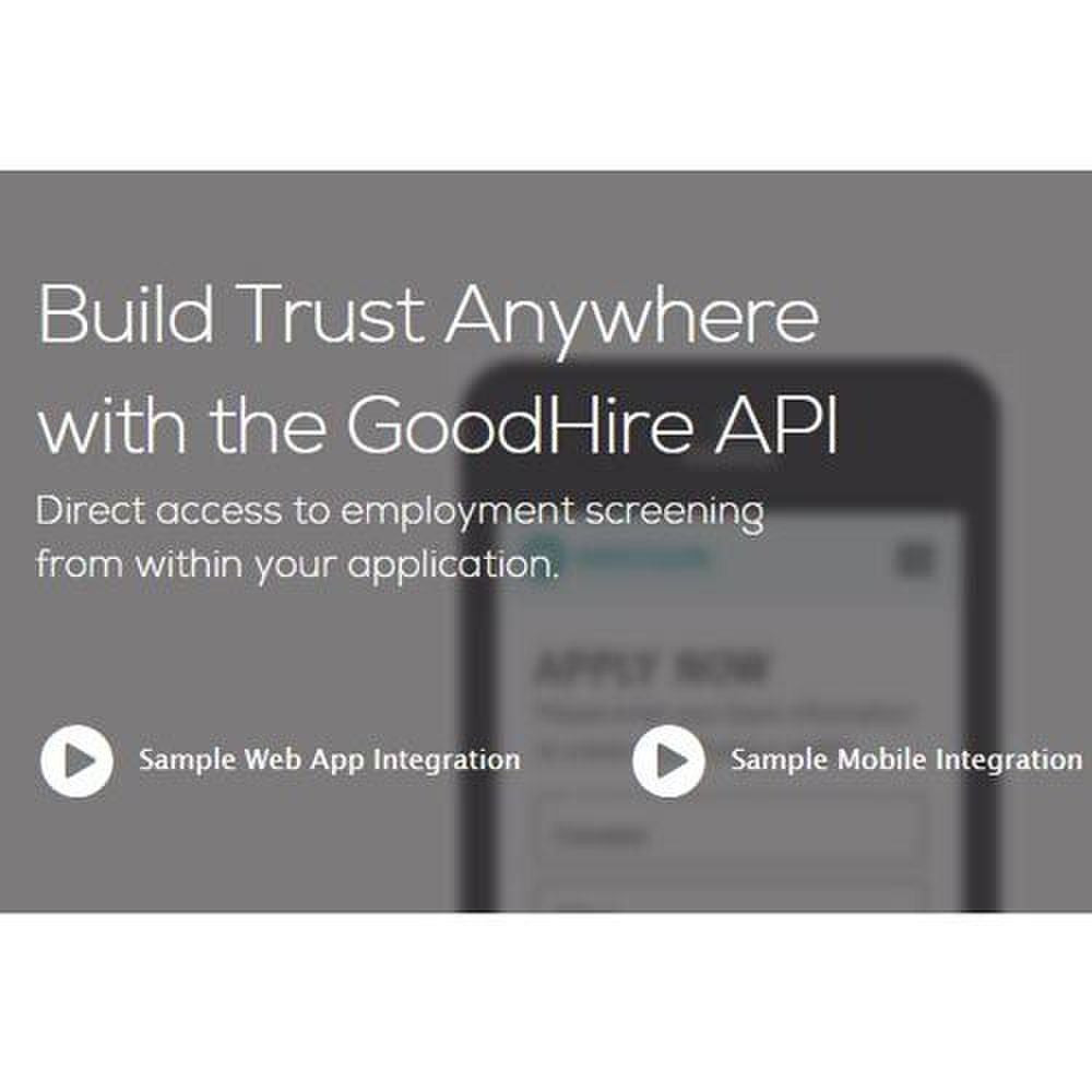 GoodHire image: The API for this online service integrates with other systems.