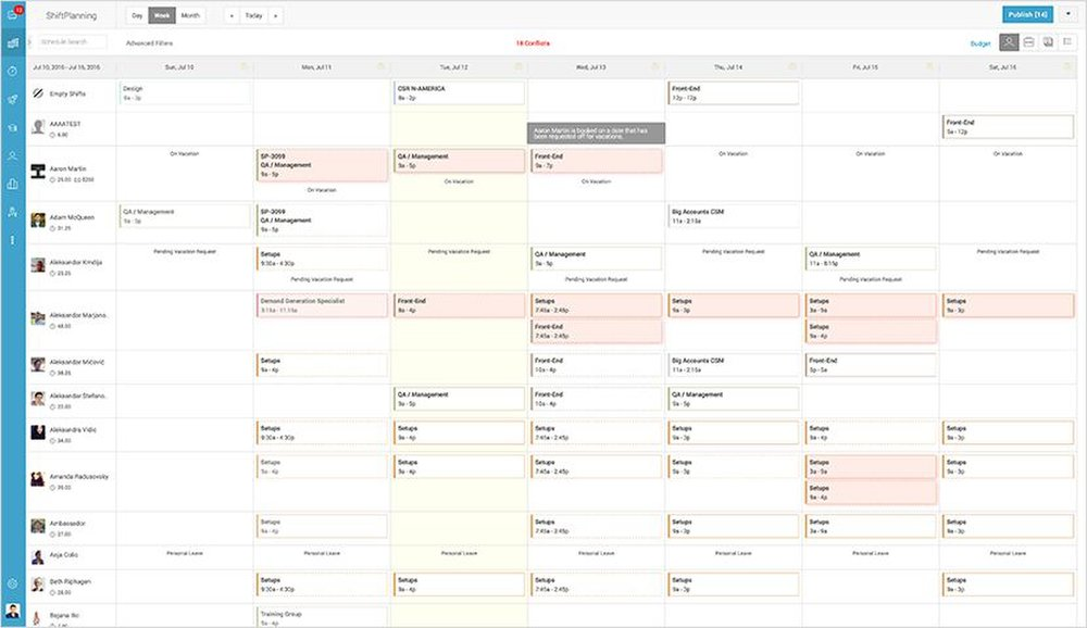 Humanity image: You can assign shifts to employees using Humanity's scheduling module, ShiftPlanning.