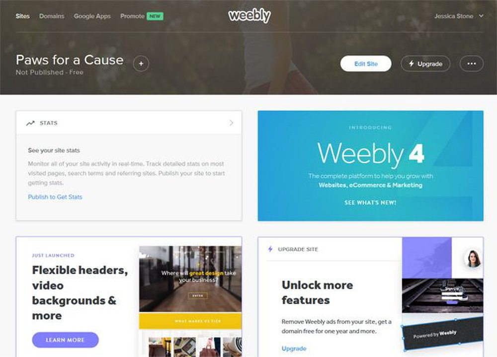 Weebly's dashboard gives you direct access to the design tools as well as detailed stats about your site.