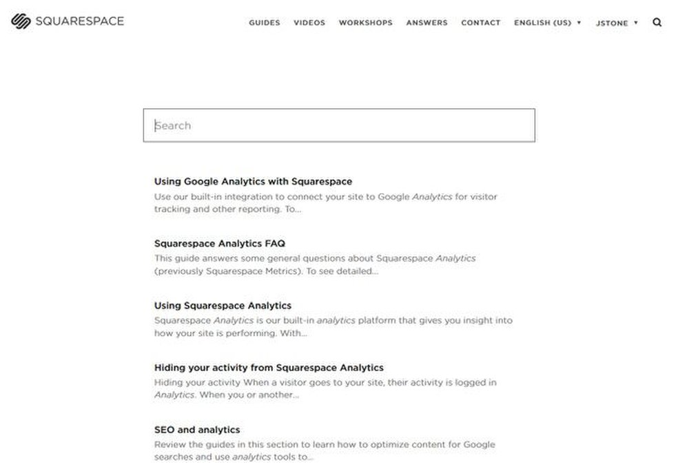 Squarespace gives you immediate access to its searchable knowledgebase.