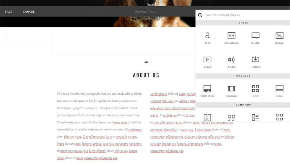When you add content to your website, you can adjust the layout using the design tools.