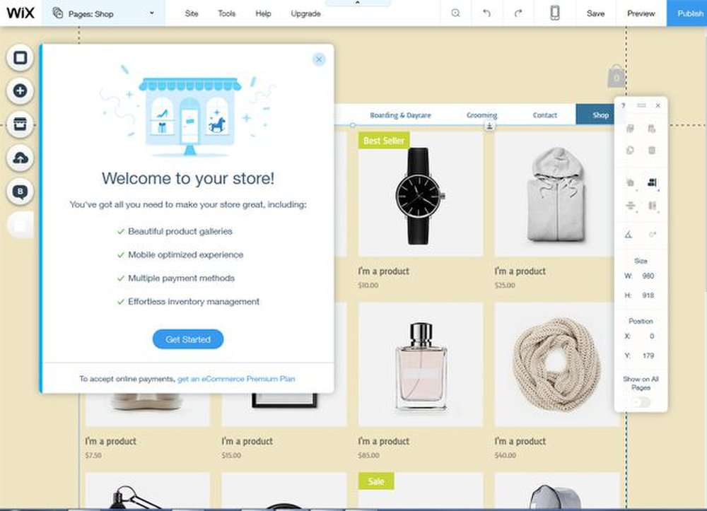 A setup wizard helps you create and manage an online store.