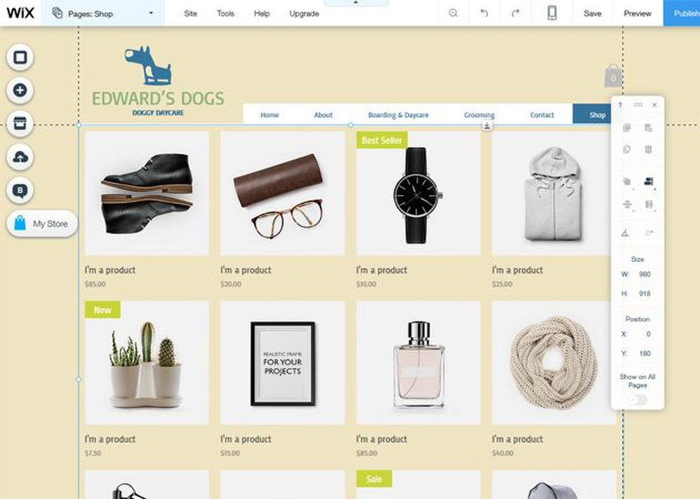 You can sell items and add payment methods to your website using the eCommerce tools.