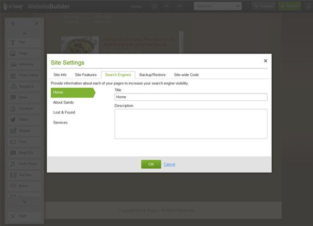 You can add SEO keywords to each page using GoDaddy's Site Settings tool.