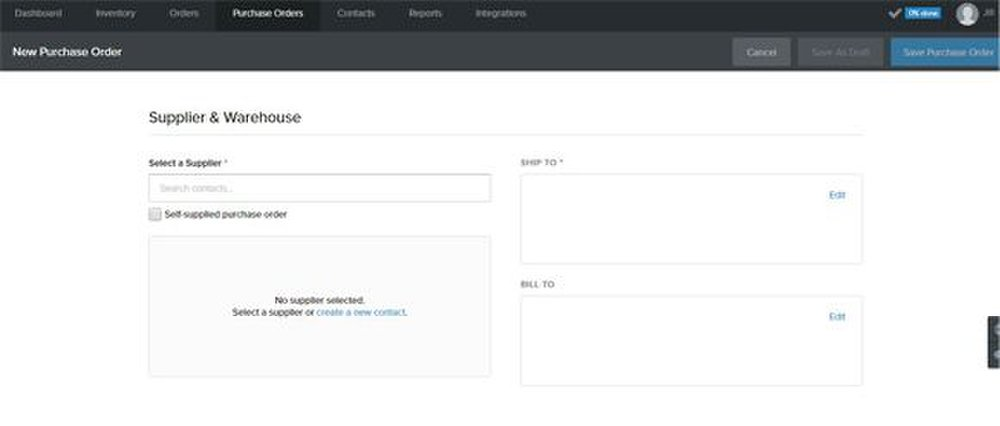 Stitch image: You can create purchase orders.