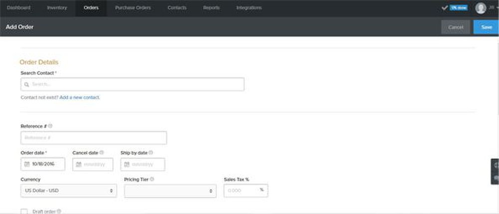 Stitch image: It's easy to create sales orders.