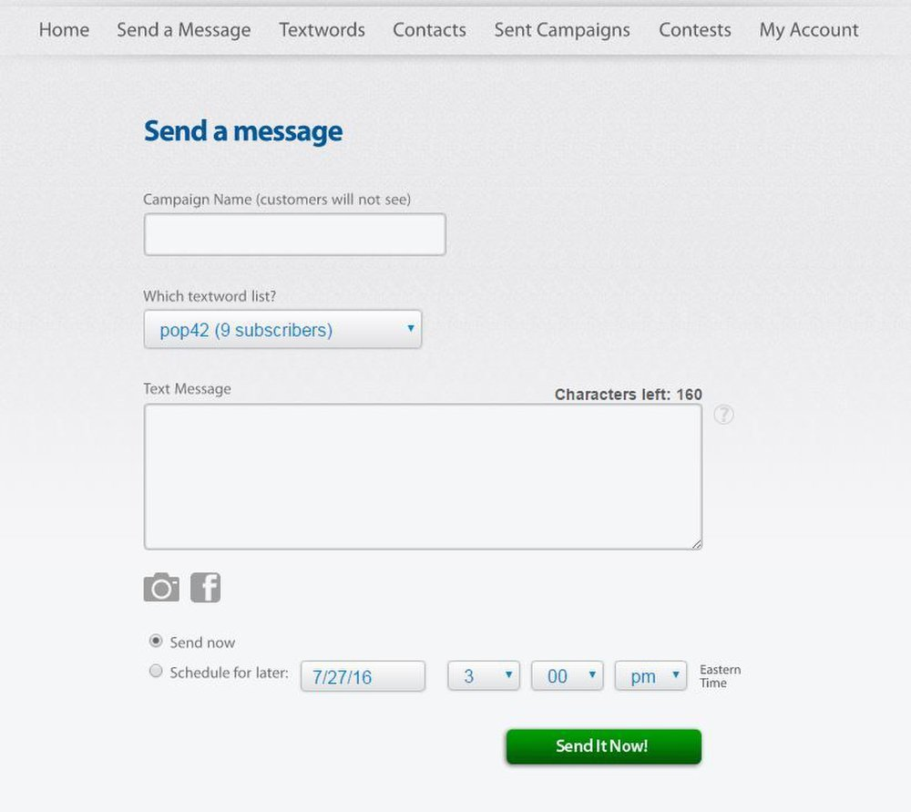 SlickText image: You can send specialized messages to customers and groups.