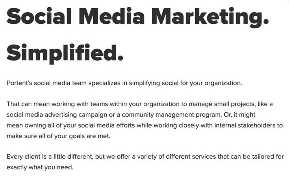 Portent image: Portent offers full social media support or it can help your team with spot items.