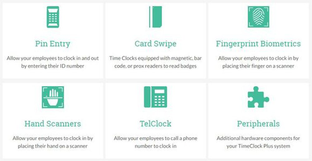 Physical timeclocks integrate with this system, including high-security badge and biometric models.