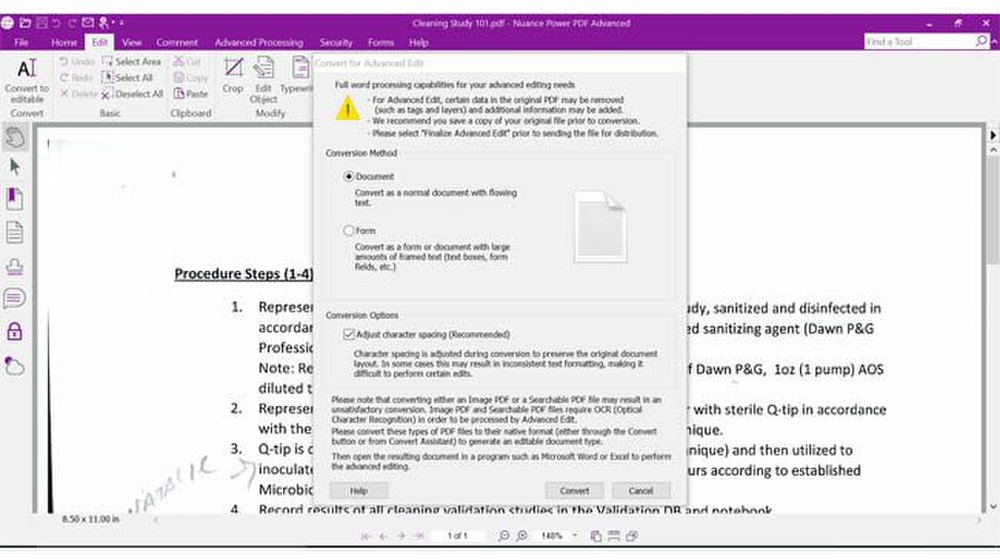 Power PDF image: You can customize how you want the document converted from paper to electronic form.