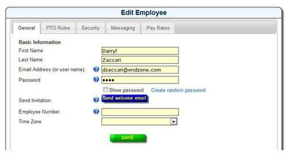 You can add employees quickly and designate a unique password for them to use to punch in and out.