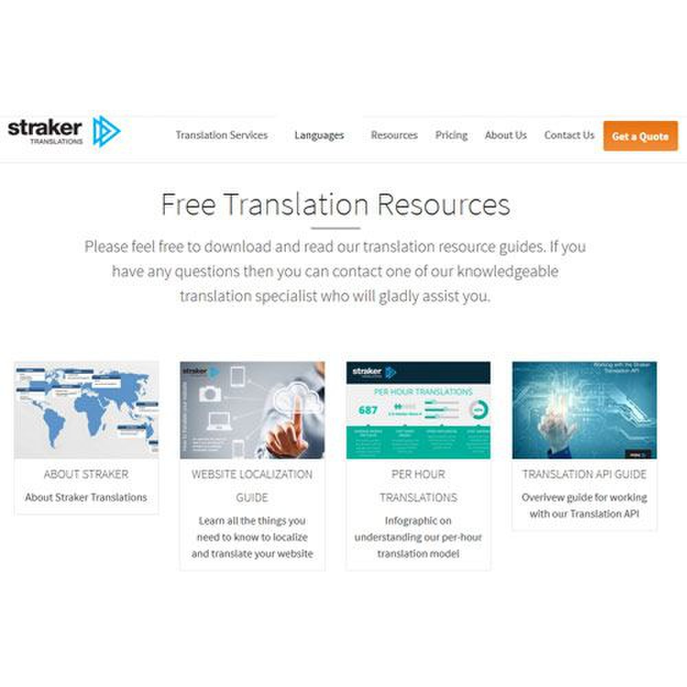 Straker Translations image: Information and resource guides are available.