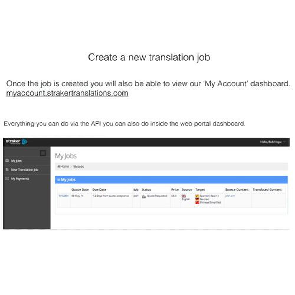 Straker Translations image: You can view your pending projects on your dashboard.