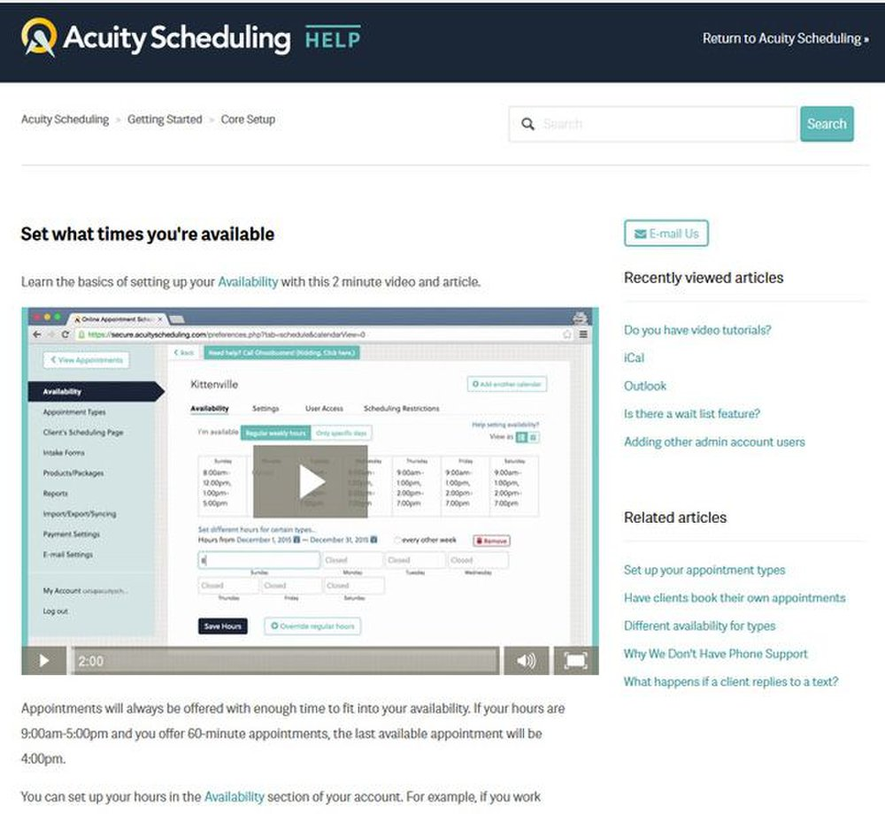 Acuity Scheduling image: You can find video tutorials that detail how to set up the online scheduler.