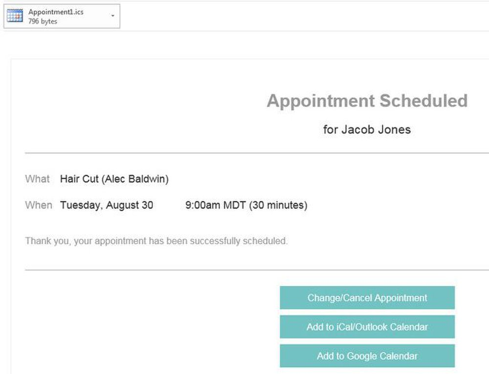 Acuity Scheduling image: A confirmation is sent to customers with a link so they can add it to their Outlook calendar.