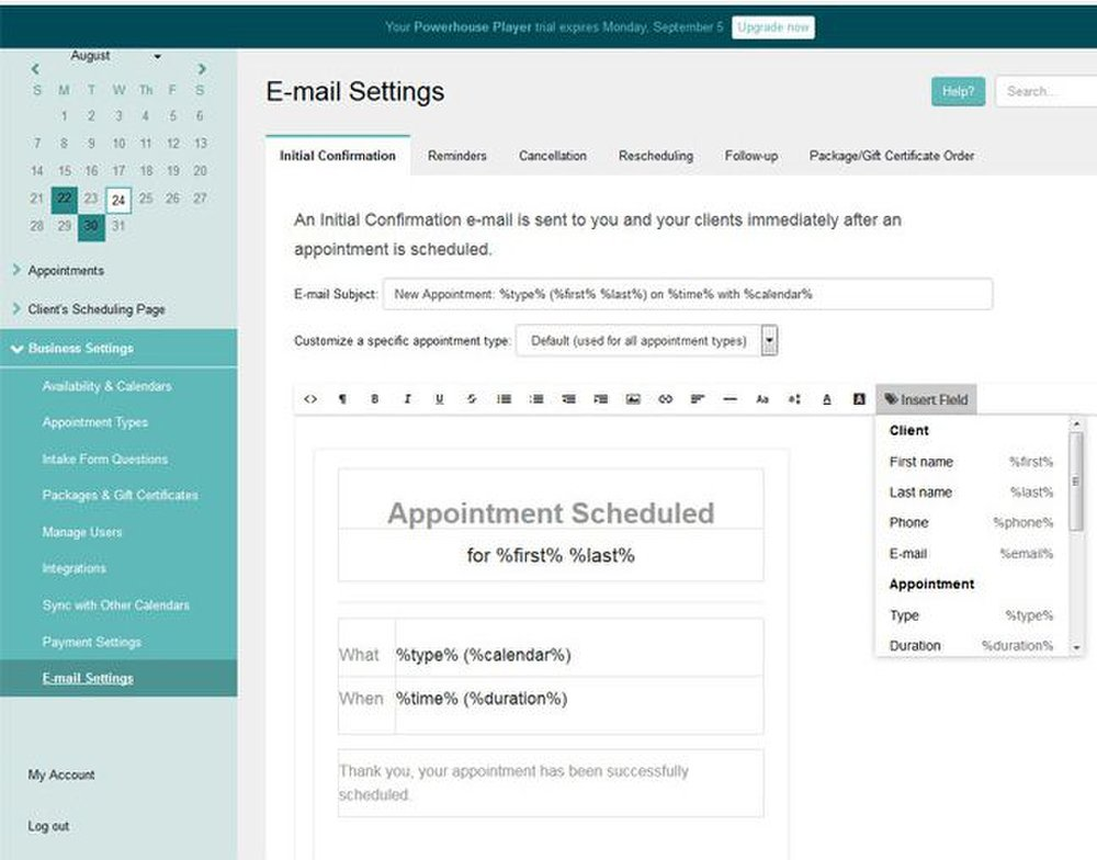 Acuity Scheduling image: You can customize the various emails this software sends out, including reminders, cancellations, follow-up and rescheduling emails.