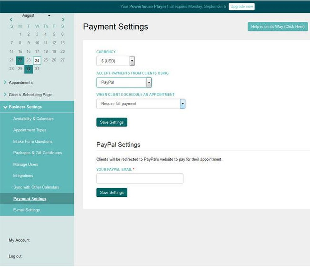 Acuity Scheduling image: Clients can pay for the service at the time of booking their appointment once you've set up a payment portal.