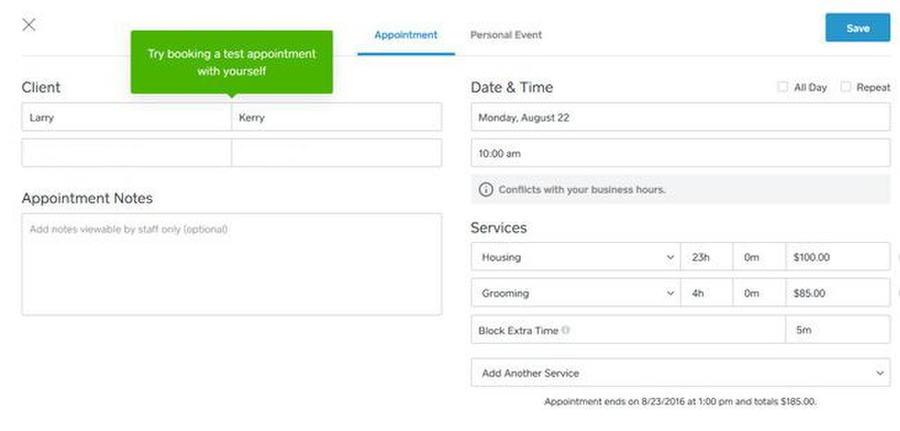 Square image: Clients can easily set up appointments, as well as recurring ones, using the online scheduler.