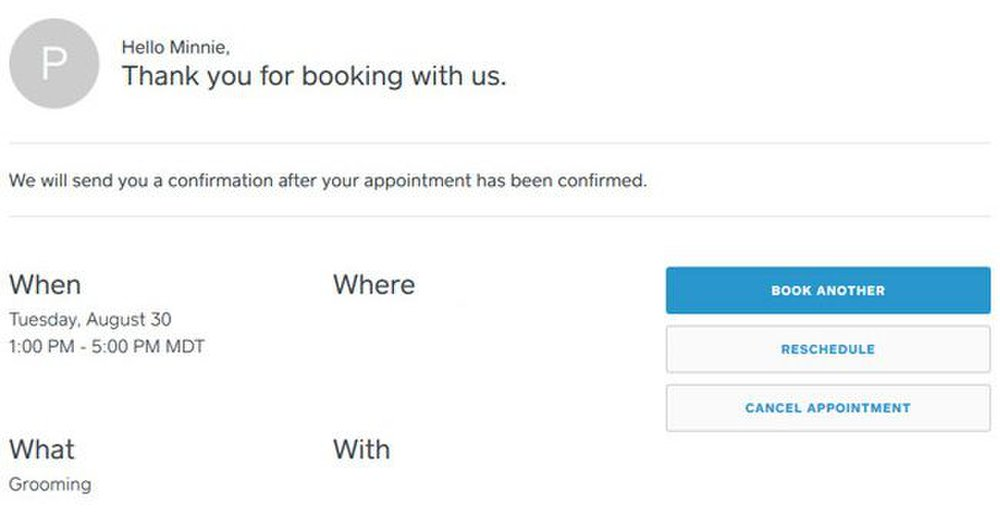 Square image: The confirmation email has links attached to it so you can easily cancel or reschedule an appointment.