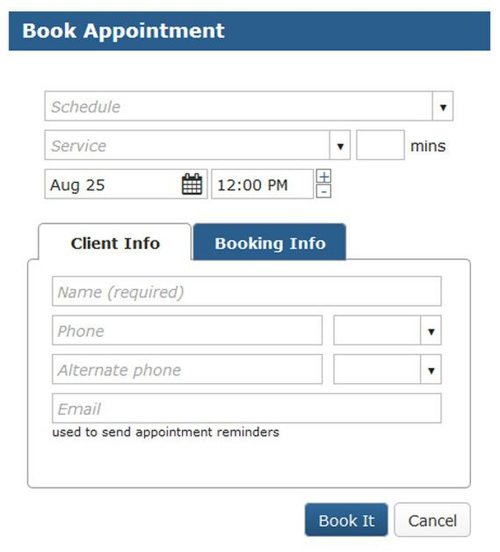 BookedIN image: You can customize what information you require customers to provide when scheduling an appointment.