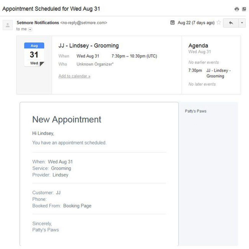 Setmore image: The email reminder has a link you can use to add the appointment to your Google calendar.