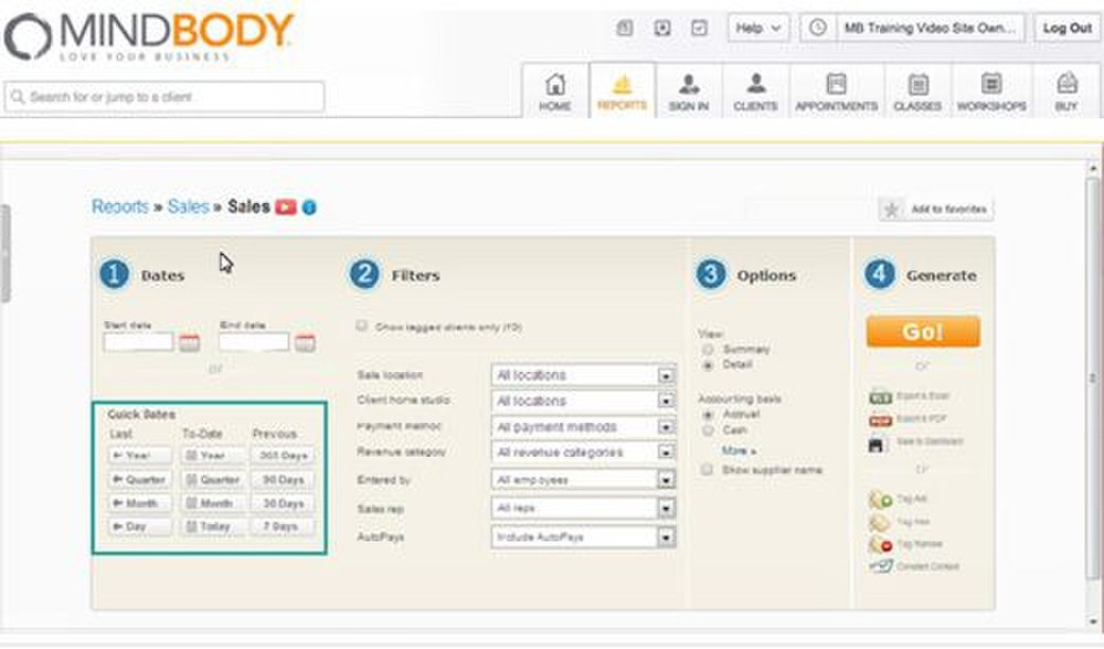 MINDBODY image: You can customize the information you want included in your reports.