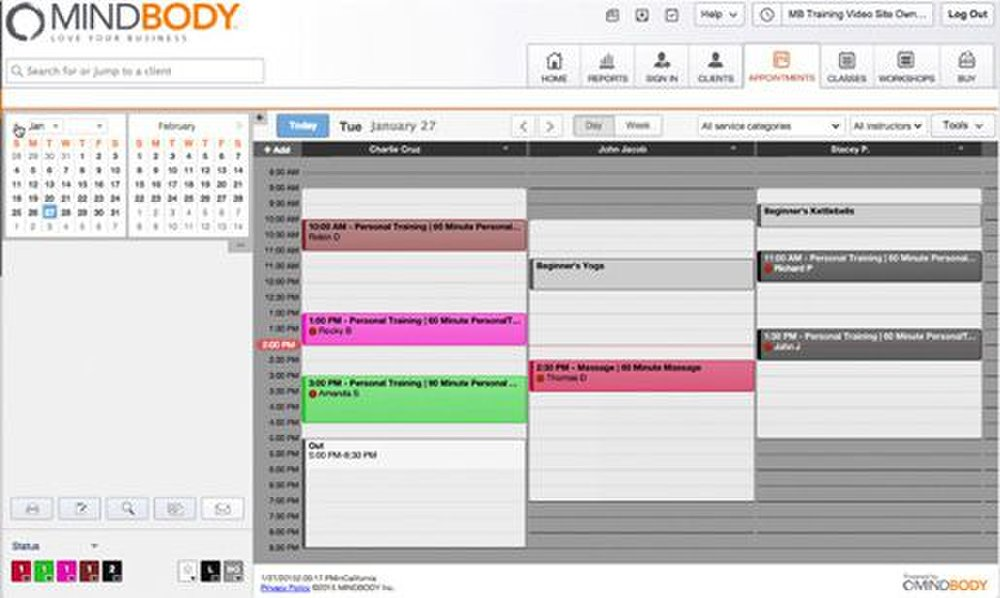 MINDBODY image: You can color code your calendar so employees know when their appointments are at a glance.
